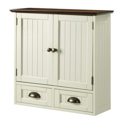 Home Decorators Collection - Southport Wall Cabinet - With its soft ivory finish and beadboard panels, our wall cabinet is a beautiful choice for storing medicine and toiletries in your bathroom. Pair with our Southport Single Vanity for the complete look. Includes two doors and two drawers. Drawers feature antique bronze cup pull hardware. Top includes oak finish. Coordinate with our other Southport Collection pieces.
