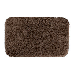 None - Serenity Chocolate 24x40 Bath Rug - Luxuriate in the deep pile of the Serenity bath and spa collection. This brown rug is created from durable, machine-washable nylon and features non-skid latex backing for safety.