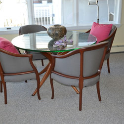 Furniture Reupholstery - This gorgeous set of Danish chairs was reupholstered in a charcoal Sunbrella fabric for a bay front home in Ocean City, NJ.