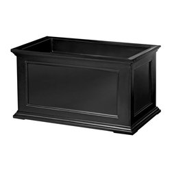 """Mayne Inc. - Fairfield Patio Planter 20x36 Black - Have the look of wood without the upkeep with our high-grade polyethylene planters. Long-lasting beauty, durability and quality.  Built-in water reservoir encourages healthy plant growth by allowing plants to practically water themselves. Beautiful New England design adds a charming touch to any patio or deck. Our molded plastic planters are made from high-grade polyethylene, double wall design. Sub-irrigation water system, encourages root growth. Inside dimensions are 31""""L x 15.5""""W x 13""""D, approximately 22 gallon soil capacity, water capacity is approximately is 16 gallons (60 litres)."""