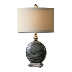 Salinger Gray Ceramic Table Lamp - Slate Gray Ceramic With Distressed Silver Leaf Details And Rust Accents. The Oval Hardback Shade Is A Beige Linen Fabric.