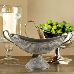 Woven Compote - Grey - Grecian heritage and a contemporary taste for the subtle, delicate depth of crafted texture influence the graceful presence of the Grey Woven Compote.  A low, sweeping piece with supple side handles and a tapered base, this elevated dish makes an elegant centerpiece effortless � whether it's filled with fresh apples on the mantelpiece or laden with flowers on a luncheon table.