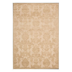 """Nourison - Nourison Graphic Illusions Transitional Damask Light Gold 3'6"""" x 5'6"""" Rug by Rug - Striking, bold patterns define this alluring collection of tantalizing rugs. Featuring an exciting hand-carved, high-low texture and contemporary color palette, these attractive area rugs will add a distinctive flair to any setting. Indulge the senses and make a bold statement with these durable and captivating creations for the floor."""