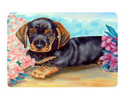 Caroline's Treasures - Dachshund Kitchen Or Bath Mat 20X30 - Kitchen or Bath COMFORT FLOOR MAT This mat is 20 inch by 30 inch.  Comfort Mat / Carpet / Rug that is Made and Printed in the USA. A foam cushion is attached to the bottom of the mat for comfort when standing. The mat has been permenantly dyed for moderate traffic. Durable and fade resistant. The back of the mat is rubber backed to keep the mat from slipping on a smooth floor. Use pressure and water from garden hose or power washer to clean the mat.  Vacuuming only with the hard wood floor setting, as to not pull up the knap of the felt.   Avoid soap or cleaner that produces suds when cleaning.  It will be difficult to get the suds out of the mat.