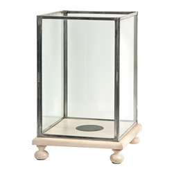 IMAX Worldwide - IMAX Worldwide Paola Wood and Glass Candle Hurricane - With a footed cream finished wood base, the Paola hurricane features rectangle glass inserts and looks great with a variety of interiors. Holds pillar candles.