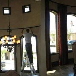 Inspired Drapes Available From Budget Blinds - Before & After Curved Wall Drapery - Budget Blinds of SW Lubbock, Texas