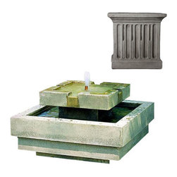 Campania International - Escala Fountain - Greystone (GS) - The Escala Fountain (FT-36) from Campania International is a great low-profile modern fountain. Makes an impressive focal point. Made of cast stone. Pump included.
