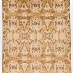 Rug Knots - Contemporary Oriental Ikat Wool Rug with Border Brown And Gold 7.75x9.92 - This Ikat rug gives the appearance of a toasted or burnt design. This type of Ikat rug would look great in a rustic style home or room. The pattern is broken up into 3 sections, two thin sections on the top and bottom and one large section in the middle. The middle section provides the most intricate and artistic designs on the rug, with interlocking designs that fit together like puzzle pieces. Surrounding this detailed design is a dark border with weaving light designs looping through the border evenly