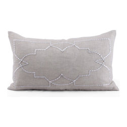 Kathy Kuo Home - Hadley Grey Hand Embroidered Rectangular Pillow - Hand embroidered pillows in linen and silk are sumptuously oversized and generously filled with down and feathers - tossed on a bed or a gathered on a sofa, create a lasting personal touch.