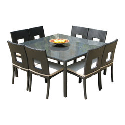 MangoHome - Outdoor Patio Wicker Furniture Nicole 9 Pc Dining & Chair Set - Outdoor Wicker Dining Set Patio Furniture