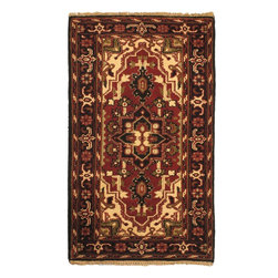"Torabi Rugs - Hand-knotted Royal Heriz Black Wool Rug 3'0"" x 5'2"" - Heriz carpets are among the most recognizable Persian rugs. They have large and powerful angular designs with a dominant geometric medallion or an open field of geometrically stylized floral motifs.  These carpets are hand knotted in India and mimic the famous rugs that are woven in the Iranian city of Heriz and its surrounding towns. These popular rugs blend with traditional, southwestern and modern decor styles."