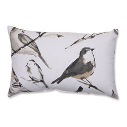 Bird Watcher Charcoal Black Taupe Pillow - - Pillow Perfect Bird Watcher Charcoal Rectangular Throw Pillow  - Sewn Seam Closure  - Spot Clean Only  - Finish/Color: Charcoal/Black/Taupe  - Product Width: 18.5  - Product Depth: 11.5  - Product Height: 5  - Product Weight: 0.5  - Material Textile: Cotton/Poly Blend  - Material Fill: 100% Recycled Virgin Polyester Fill Pillow Perfect - 512372