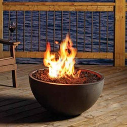 Marquis Bola Firepit - The Bola by Marquis makes an elegant addition to your wood deck or patio. The Bola concrete fire bowl comes in Textured Black and Smooth Grey, is fueled by natural gas or propane and includes your selection of lava rocks, ember glass or decorative stones.