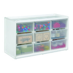 Art Bin Store-In-Drawer Cabinet, Translucent - This drawer cabinet features translucent drawers for easy identification of contents. Each unit is stackable and can be mounted on the wall. The nine drawers also offer plenty of storage space for all your kids' art supplies.