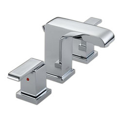 Delta - Delta 3586LF-MPU Arzo Two Handle Widespread Lavatory Faucet (Chrome) - Delta 3586LF-MPU Arzo Collection has a bold angular shape and for a comtemporary addition to your home. The Delta 3586LF-MPU is a two handle Widespread Lavatory Faucet in Chrome.