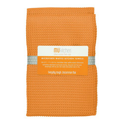 MU Kitchen Waffle Towel Set Tangerine - The beautiful MU kitchen waffle microfiber dishcloth set is made from a revolutionary microfiber  a specially designed cloth that is woven in a unique pattern from polyester fibers that create tiny scoops that suck up dirt and attract micro-particles. Microfiber is softer than silk and stronger than cotton. The cloth is so well crafted  it renders harsh cleaning chemicals entirely unnecessary.Product Features                      Set of 2 - 17 x 25 in. towels          Waffle microfiber          Extremely absorbent and quick drying          Lint free and amazingly soft          Clean and polish wet or dry          Reduces bacteria growth with quick drying time          Finished with a hanging loop for convenience