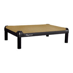 DoggySnooze - snoozePad, Anodized Frame, Long Legs - This luxurious elevated dog bed features clean lines that will complement your contemporary decor — and it's even chew resistant! Use this bed indoors or out as a favorite resting spot for your four-legged friend — or buy two. Made in the USA and available in three sizes, with optional black anodized frame, long legs and memory foam.