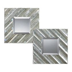 Uttermost - Uttermost 8114 Jovan Silver Square Accent Wall Mirror - Set of 2 - Antiqued Mirror Molding in Scalloped Fashion