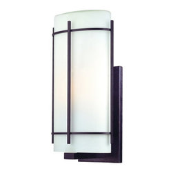 Dolan Designs - Dolan Designs 9302 1 Light Ambient Light Medium Outdoor Wall Sconce from the Pac - Dolan Designs 9302-34 Pacifica 1 Light Ambient Light Medium Outdoor Wall SconceFeaturing a clean, modern design, this 1 Light Medium Outdoor Wall Sconce features an Olde World Iron finish and a simple Satin White Glass Shade. This wall sconce is sure to bring a modern touch to any lighting application.Pacifica is an Asian-inspired design that features an Olde World Iron finish and a simple Satin White Glass Shades. This collection is sure to bring a modern touch to any home.Dolan Designs 9302 Features: