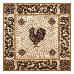Landmark Metalcoat Rooster Mosaic Backsplash Medallion 24 Inches, Brass - All Landmark Metalcoat products are made to order. lead time 3 -5 weeks. Proudly made in the USA.   Size: 24 inches Mesh mounted for easy installation.