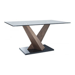 Creative Furniture - Estelle Walnut / Black Dining Table - This table is an ideal solution for those who seek a modern look with warm and inviting atmosphere. The dining table has an original and creative design with 2 crossing walnut veneer legs and black marble base.    Features: