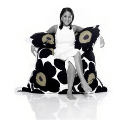 """Fatboy Original Marimekko Lounge Bag - in Unikko Black - Houzz Friend, photographer, mad D.I.Y.er and author of the blog Asiz's Child, Ali says  """"you can never go wrong with a Fatboy Original. Not only is it a great lounge chair but it comes in a massive box which makes for hours of entertainment for the little ones (think box forts, box rocket ships, a good hide/seek spot), ha!"""""""