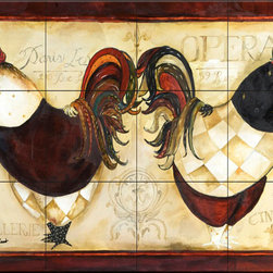 The Tile Mural Store (USA) - Tile Mural - Roosters De Paris Ii - Kitchen Backsplash Ideas - This beautiful artwork by Jennifer Garant has been digitally reproduced for tiles and depicts two roosters in paris.  Our kitchen tile murals are perfect to use as part of your kitchen backsplash tile project. Add interest to your kitchen backsplash wall with a decorative tile mural. If you are remodeling your kitchen or building a new home, install a tile mural above your stove top or install a tile mural above your sink. Adding a decorative tile mural to your backsplash is a wonderful idea and will liven up the space behind your cooktop or sink.