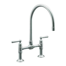 KOHLER - KOHLER K-7337-4-BS HiRise Stainless Deck Mount Bridge Kitchen Faucet in Brushed - KOHLER K-7337-4-BS HiRise Stainless Deck Mount Bridge Kitchen Faucet in Brushed Stainless