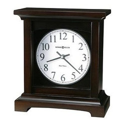 HOWARD MILLER - Howard Miller Urban Mantel II - The dial features nickel-colored Arabic numerals with white background.