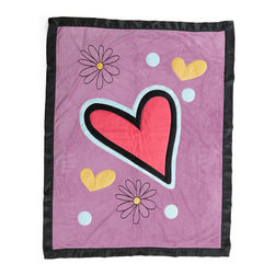 Sassy Shaylee - Medium Quilt - Quilt is absolutely stunning and made with the softest of minky fabrics.  Front of quilt is this collections gorgeous purple minky with appliqu�s in hearts, flowers and dots. Back is solid pink minky.  Entire quilt is trimmed in silky satin bold black ruffled trim.