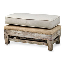 Schafer Ottoman - A place for guests to perch. A resting site for a cup of hot tea and your favorite tome. A welcome spot for slippered feet come day's end. The Schafer Ottoman is a blend of beauty and practicality that presents the essence of bench-made quality tastefully exposed. Tailored in soft, neutral linen, this solid hardwood accent piece features traditional upholsterer's tacks on the exposed tan burlap. A unique stand-alone piece, the ottoman is a complement to the Schafer Armchair.