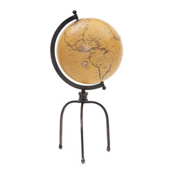 Globe on Tripod Stand - If you love traveling then this antique stunning piece is just for you.  This striking globe sits on an adjustable tripod stand and is perfect for a study or bay window. This cool & wonderful item from the house of vintage chic home would make a perfect wedding or retirement gift.   Manufactured with wrought iron and adorned in black nickel polish, this elegant art piece can spruce up your home.