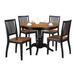 "Steve Silver - Steve Silver Candice 5 Piece 42 Inch Round Dining Room Set in Oak and Black - The Candice Collection offers country-style simplicity, transforming any dining area into a charming sanctuary. The black and oak Candice pedestal table features a beautifully turned base with a 42"" round top that will seat four comfortably. Add the Candice black and oak side chairs to complete the look. What's included: Dining Table (1), Side Chair (4)."