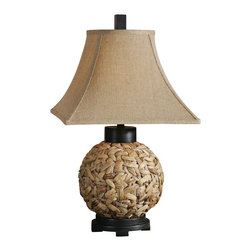 Uttermost - Uttermost Calameae Woven Rattan Table Lamp - This tropical-inspired table lamp features a woven natural rattan ball, flanked by aged black details, beneath a burlap linen shade. Tropical appeal at its best, this Uttermost Calameae table lamp features a round, woven natural rattan base with aged black details at the foot, neck, and finial. A burlap linen square bell shade adds more texture to the design and continues the organic, natural feel upward. Designed by Carolyn Kinder, this casual table lamp would make a fitting addition to any coastal or rustic living space.
