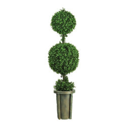 5' Double Ball Leucodendron Topiary with Decorative Vase (Indoor/Outdoor) - A full 5 feet tall, this dynamic duo makes a bold statement in any space. This lush traditional green sculpture contains an abundance of rich silk foliage. A mix of 2008 delicate leaves around the base and stem creates an authentic appeal that can't be beat. A slender neutral shaded vase adds a nice touch to this expertly crafted work of art. Perfect for both indoor and outdoor use. Height= 5 ft x Width= 16 in x Depth= 16 in
