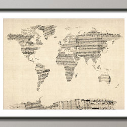 Map of the World Map from Old Sheet Music, Art Print on Etsy - Love this idea - using sheet music to make a world map collage. Also quite taken with the vintage coloring of this art print - perfect for my little girls room as she's an budding musician! By ArtPause for sale on Etsy