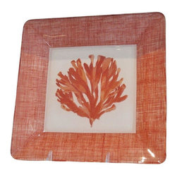 Red Coral Decorative Plate - A colorful accent for your coastal cottage, sea shore decor! This decorative plate or tray features an old print of red coral colored seaweed , bordered with coral linen. It is perfect for decorating a beach house or as a beachy wedding gift. These plates can be easily hung with standard plate hangers. The plates are suitable for light use but are not meant for the dishwasher. The seller has sets of up to 4 plates which look wonderful on a wall together. Please contact support@chairish.com fro more information.