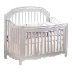 Natart - Natart Alexa Convertible Crib, Silver, No Upholsterd Panel - Our Italian heritage provided the inspiration for the Alexa Collection. The culmination of haute couture, Renaissance influences and design expertise is translated into a graceful tapered leg, bentwood curved sides, a convex shaped front, and imported Italian knobs that are hand-dipped in real silver. Alexa, the sister collection to Allegra, epitomizes elegance and luxury with her graceful curves and slender tapered legs.