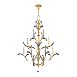 Fine Art Lamps - Beveled Arcs Gold Chandelier, 767240ST - Sparkling crystal meets gleaming gold in a chandelier you'll want for your favorite formal setting. Note the delicacy of the beveled crystals and graceful, curving arms.