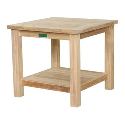"Anderson Teak - 22"" Square 2-Tier Side Table - This Square Side Table is simple, straightforward, functional and sturdy. Strong enough to sit on, perfect for snack or functional table."