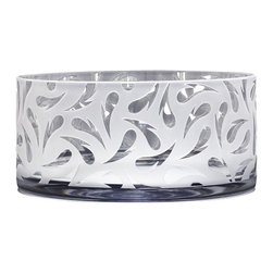 """Carrie Gustafson - Nesting Heart Bowl - The artist Carrie Gustafson uses the sandblasting technique to inscribe transparent hearts on the opaque white blown glass bowl. It is available in  5""""Hx8""""DIA. Care instruction: Hand wash. Hand made in USA."""