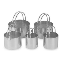 """Fox Run - Fox Run Rounded Biscuit Cutters (Set of 5) - Make equally proportioned biscuits with these 18/8 stainless steel cutters ranging in size from 1 1/2"""" to 3""""."""