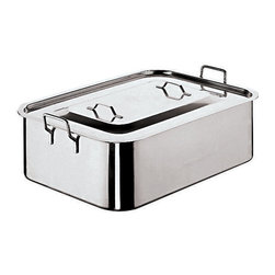 Paderno World Cuisine - Stainless-steel Deep Brazier with Cover - This deep roasting pan or brazier has a lid to keep moisture and flavors in, protecting the food from the dry heat. Its 6-in. height allows for large pieces, whole poultry and substantial meat cuts. It is made of 100-percent stainless steel.