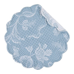 "C F enterprises - Elisa Lace Blue Round Placemat - High quality quilted placemats by C F Enterprise transform your table in fresh colors and styles.    The Eliza Lace round placemat by C & F Enterprises is 17"" with a scalloped edge in reversible 100% cotton."