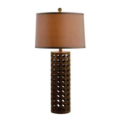 Kenroy Home - Bedside Lamps: Marrakesh32 in. Chocolate Table Lamp 32272CHOC - Shop for Lighting & Fans at The Home Depot. Marrakesh showcases its Moroccan spirit in a pattern of indents and inlay adorning an openwork cylindrical base. Available in 2 contrasting finishes. A perfect accent piece for a desk or bedside table.