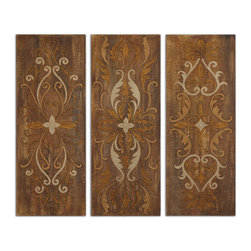 Uttermost - Elegant Swirl Panels Set of 3 - If art is not your thing and you cannot decide between a street scene, a still life or a landscape, Grace Feyock has your back. Hang these together for an ultimate impact or by themselves for a smaller, but no less important wall accent. They're hand painted on cracked canvas and glazed to give depth and interest.