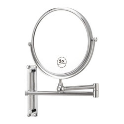 Nameek's - Round Wall Mounted 3x Magnification Mirror - With an 8 inch double face, this mirror is a beautiful addition to any master bathroom/vanity. It is a wall mounted mirror with 3x magnification. This brass mirror has a contemporary, Italian design and is available in a chrome finish.