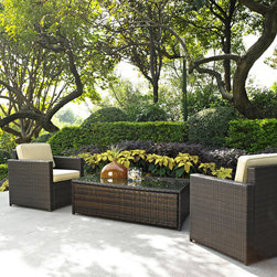 Crosley Furniture - Crosley Furniture Palm Harbor 3 Piece Outdoor Wicker Seating Set - Two Outdoor W - Set your ice cold beverage on the table and lounge around on our elegantly designed all-weather wicker loveseat. Finely crafted with intricately woven wicker over durable aluminum frames, this timeless wicker furniture provides lasting comfort and style. Let your worries fade away as you doze off in our UV/fade resistant cushions.