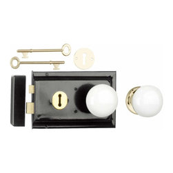 "The Renovators Supply - Rim Locks Black On Steel/White Knob Rim Lock 4.88"" L x 3.25"" H 