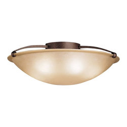 KICHLER - KICHLER Contemporary Semi Flush Mount Ceiling Light X-ZT7048 - Fluid lines are complimented by warm tones on this Kichler Lighting semi flush mount ceiling light. The warm Tannery Bronze finish and etched sunset glass shade give it a subtle traditional appeal despite the modern lines and contemporary curves.